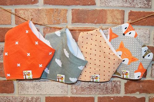 Bandana Bibs 4 pk Organic Cotton (orange fox)