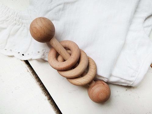 Marcus Montessori 3 Ring Wooden Rattle