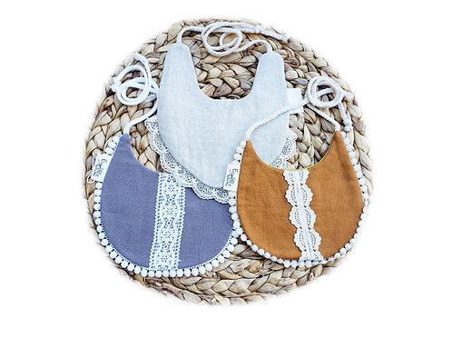 3pk Linen & Lace Drool Bibs