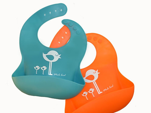 Silicone bib with pockets 2 pack turquoise and orange