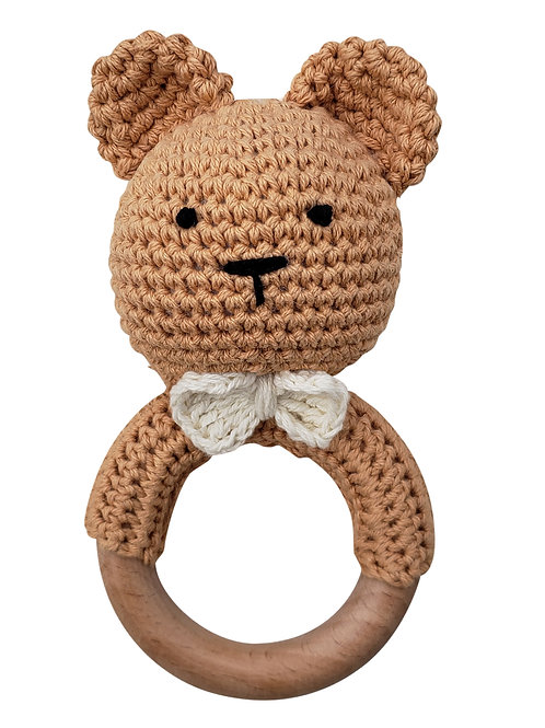 Cotton Crochet Teddy Bear Teething Rattle