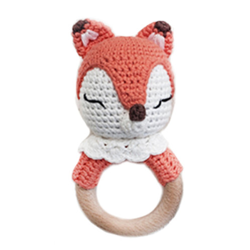 Forest Friends Cotton Crochet Bunny Teething Rattle