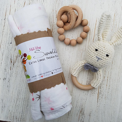 Single swaddle + Crochet Bunny Rattle w/ Choice Bracelet