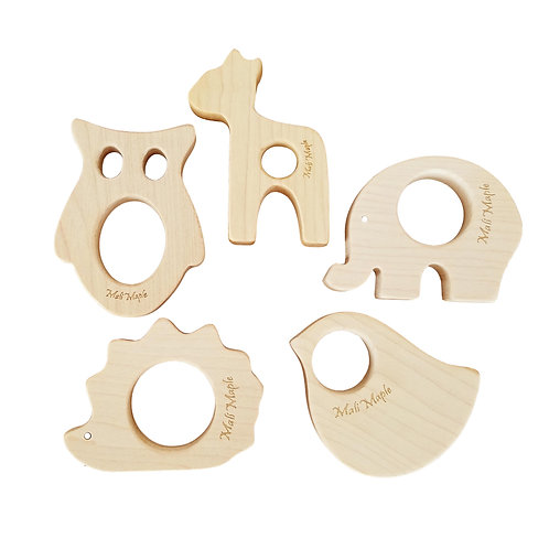 Natural Maple Wood Teething Toys Set of 5