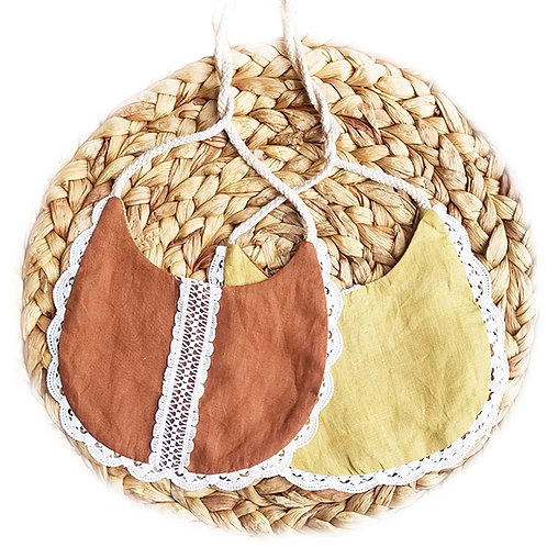 Linen & Lace drool bibs (Mustard & Clay)