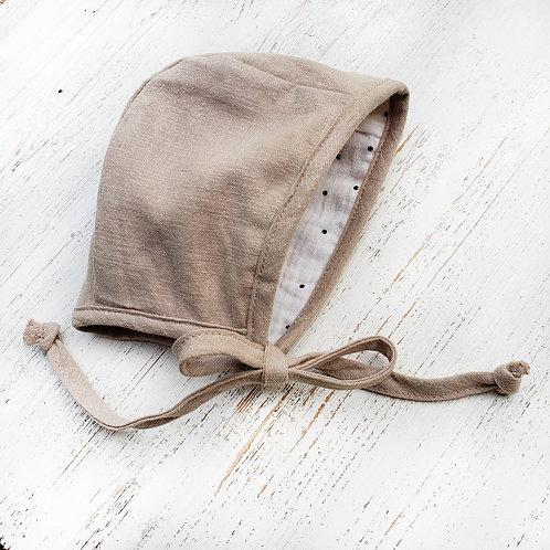 Oatmeal Linen and Muslin Dotted Reversible Bonnet