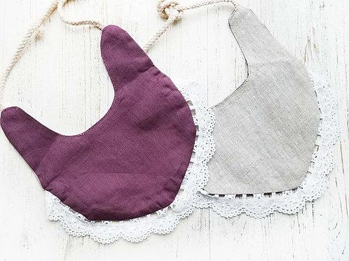 Linen & Lace drool bibs (Plum & Camel)