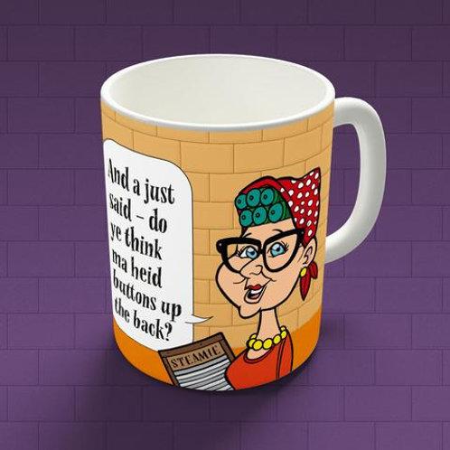 Glasgow Steamie - Ma Heid Buttons Up The Back Mug