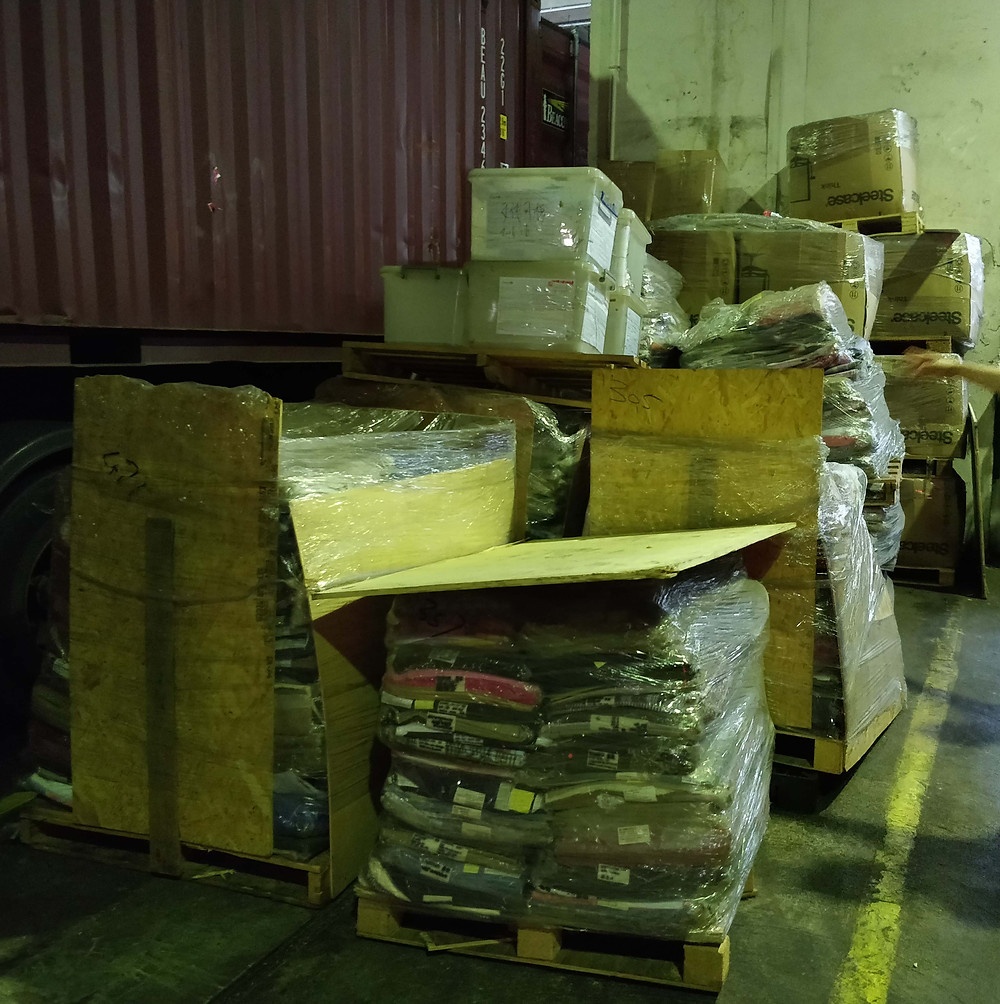 This is the sheer volume of fabric being discarded from a small warehouse in Hong Kong