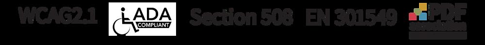 Logos of: WCAG 2.1, ADA Compliant, Section 508, EN 301549, PDF Association