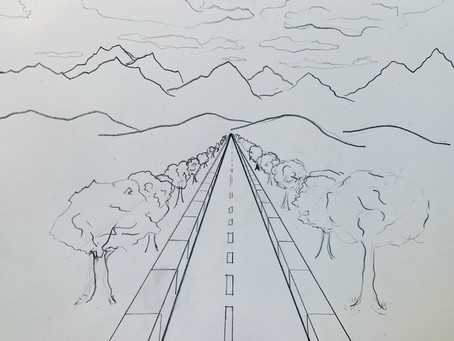 PERSPECTIVE! Pencil one point perspective Streetscape  ~ Heading to the Mountains