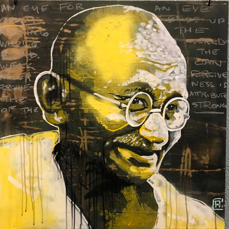 Mohandas Gandhi (October 1869 –  January 30, 1948) was an Indian activist who was the leader of the Indian independence movement against British colonial rule. Employing nonviolent civil disobedience, Gandhi led India to independence and inspired movements for civil rights and freedom across the world. The honorific Mahātmā was applied to him first in 1914 in South Africa and is now used worldwide. In India, he was also called Bapu, and Gandhi ji, and is known as the Father of the Nation.  Gandhi first employed nonviolent civil disobedience as an expatriate lawyer in South Africa, in the resident Indian community's struggle for civil rights. After his return to India in 1915, he set about organizing peasants, farmers, and urban laborers to protest against excessive land-tax and discrimination. Assuming leadership of the Indian National Congress in 1921, Gandhi led nationwide campaigns for various social causes and for achieving Swaraj or self-rule.  Gandhi led Indians in challenging the British-imposed salt tax with the 400 km (250 mi) Dandi Salt March in 1930, and later in calling for the British to Quit India in 1942. He was imprisoned for many years, upon many occasions, in both South Africa and India. He lived modestly in a self-sufficient residential community and wore the traditional Indian dhoti and shawl, woven with yarn hand-spun on a charkha. He ate simple vegetarian food, and also undertook long fasts as a means of both self-purification and political protest.