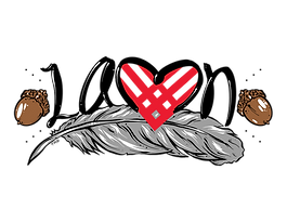 Black letters of LAMN, a red Giving Tuesday heart, a gray feather, brown acorns