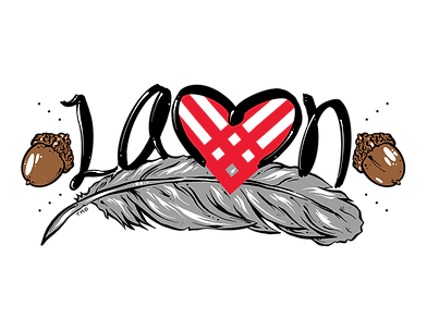 """Black letters of """"LAMN"""". a red Giving Tuesday Heart, brown acorns, a grey feather"""
