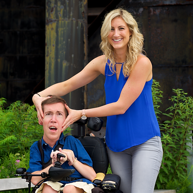 Shane and Sarah, cofounders, are pictured together in a park