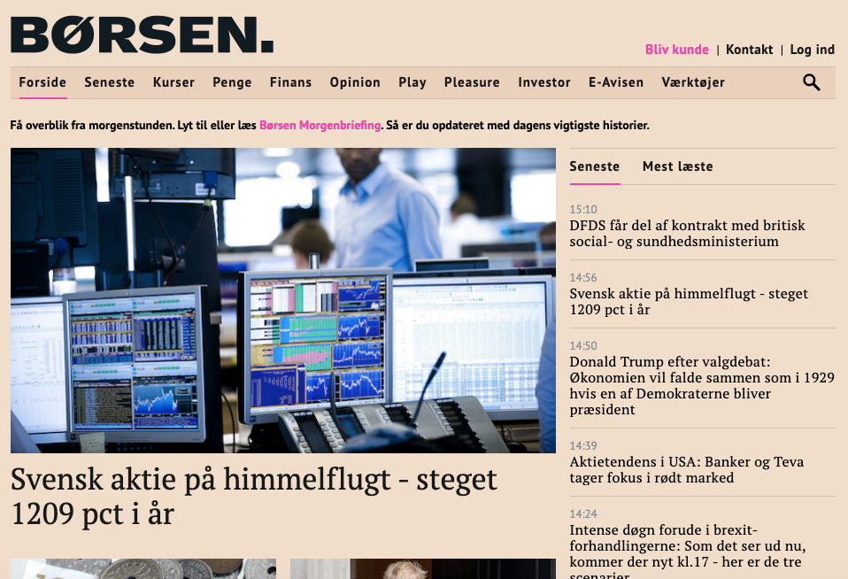 Artikel om Hoodin i børsen.dk