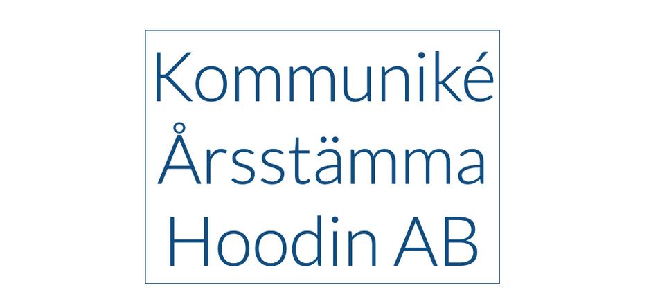 Kommuniké Årsstämma Hoodin AB