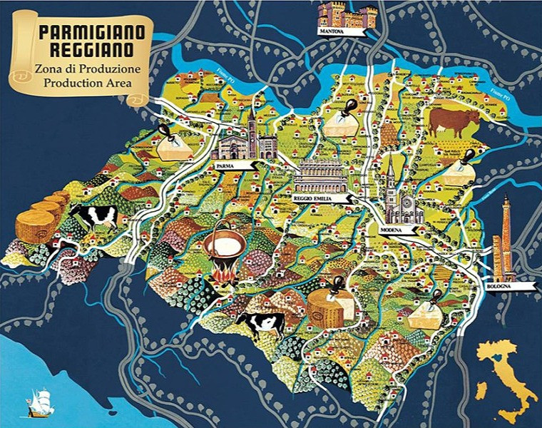The area is situated between the river Po and Reno, and it includes Parma, Reggio Emilia, Modena, Bologna and Mantova.