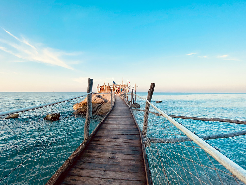 Trabocchi or Trabucchi are wooden structures right on the sea that were used to fish. Trabocchi are definitely a landmark of the Abruzzo region in Italy!