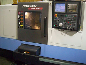 Doosan Puma 240 MSB live tool lathe with sub-spindle