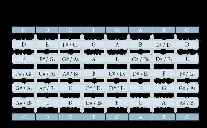 Transponiertabelle für die Gitarre