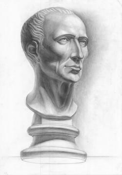 Рисунок гипсовой головы Цезаря