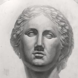Рисунок гипсовой головы Афродиты