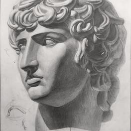 Рисунок гипсовой головы Антиноя