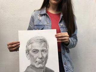 Портрет Джорджа Клуни в исполнении Полины.