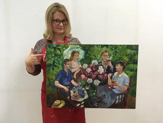 """Импрессионизм в живописи. Работа по мотивам картины Александра Герасимова """"семейный портрет&quo"""