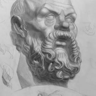 Рисунок гипсовой головы Сократа