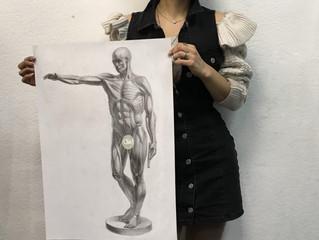 Рисунок с гипсовой анатомической скульптуры Жана-Антуана Гудона.