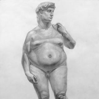 Рисунок-шутка статуи Давида Микеланджело. Давид постсамоизоляционный