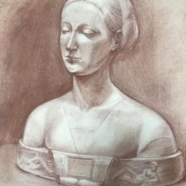 Рисунок бюста Марии Сфорца
