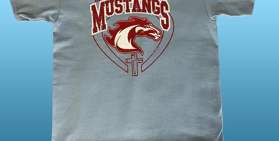 OMOS Go Mustangs!  Spirit Shirt (Light Blue)