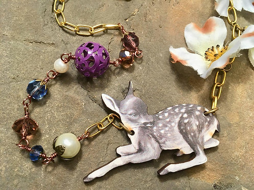 Woodland Deer Necklace - purple