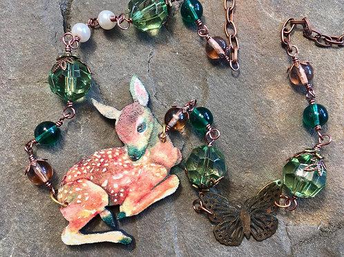 Woodland Deer Necklace -green