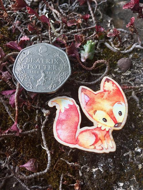 Standing Fox Wooden Pin Badge