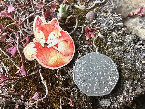 Sleepy Fox Wooden Pin Badge