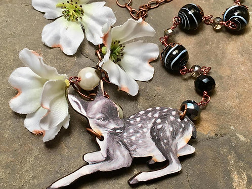 Woodland Deer Necklace - black