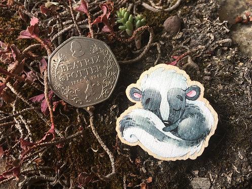 Sleepy Skunk Wooden Pin Badge