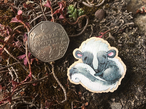 Sleepy Skunk Wooden Pin Badge