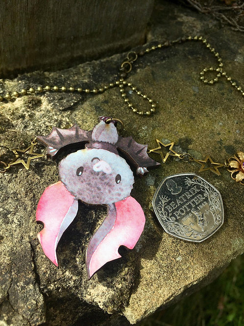 Whimsical Bat Necklace - stretched wings