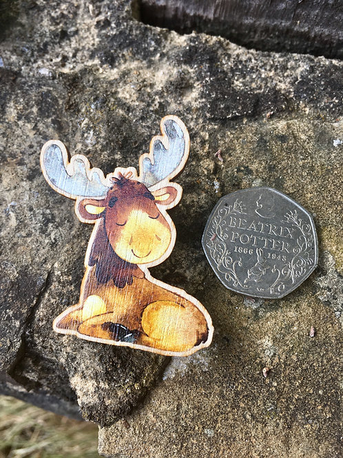 Contented Moose Wooden Pin Badge