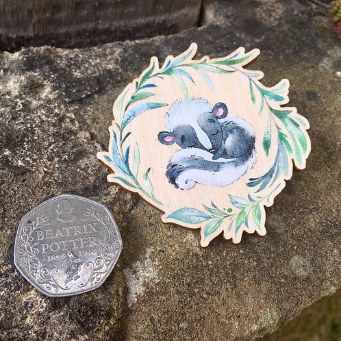 Sleepy Skunk Wreath Wooden Pin Badge