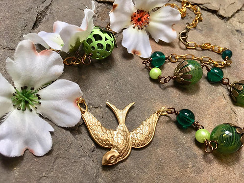 Brass Swallow Pendant Necklace - green
