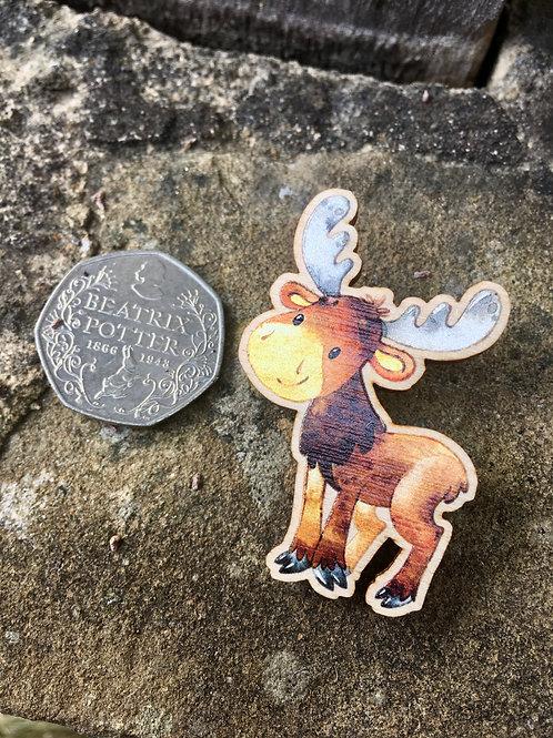 Standing Moose Wooden Pin Badge