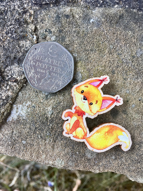 Friendly Lil' Red Squirrel Wooden Pin Badge