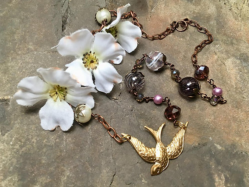 Brass Swallow Pendant Necklace - purple