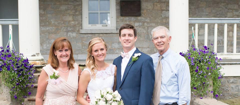 Wedding Photos with Barracks as Backdrop